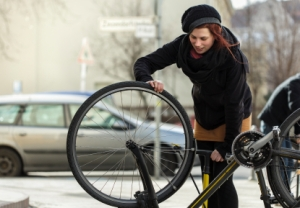 Woman Riding Bicycle in Berlin