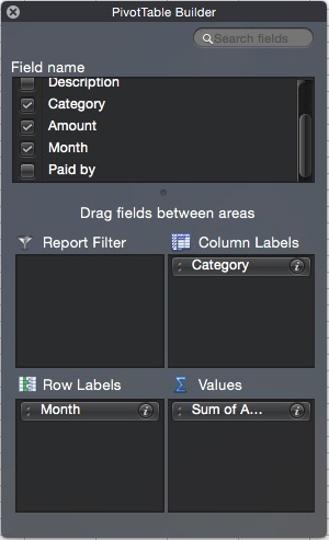 Completed Pivot Table Builder